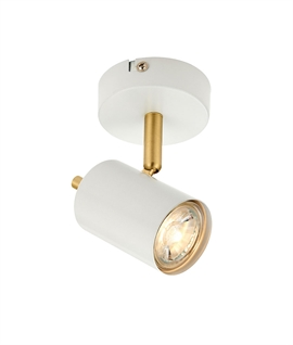 Single White & Brushed Brass Adjustable Spot Light