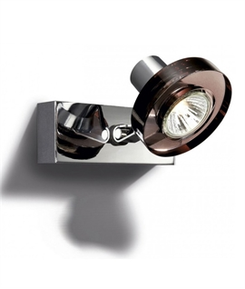 Last Remaining Single Surface Mounted Spotlight - Heavy Smoked Glass