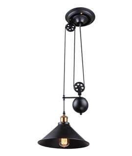 Timeless Design Rise & Fall Light Pendant - Black Metal Finish
