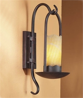 Rustic Brown LED Candle Wall Bracket With Alabaster Shade