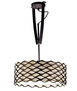 Height Adjustable Ceiling Light with Woven Shade