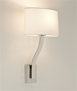 Slim Bedside Wall Light in Polished Chrome with Large Opal Glass Shade - touch dimming