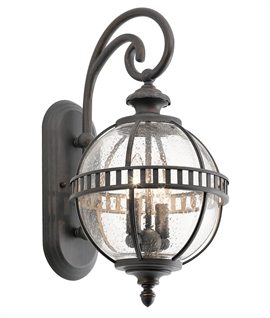 Exterior Bronze & Seeded Glass Wall Lights IP44