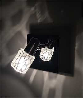 Compact Wall Light with Etched Glass Shade