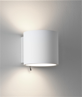 Up Down Cylindrical Wall Light in Natural Plaster