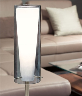 Smoked & White Glass Satin Nickel Floor Lamp