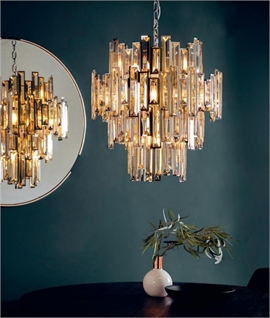 Champagne Crystal & Chrome Large Chandelier
