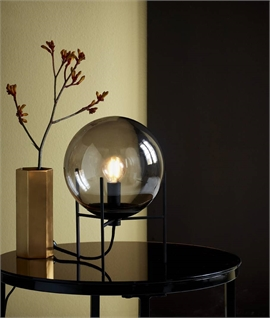 Smoked Glass Globe Table Lamp - Black Detailing
