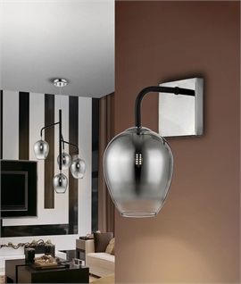 Contemporary Grey Glass & Black Detail Wall Light
