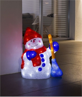 Festive LED Exterior Snowman with Broom