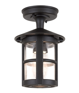 Black & Clear Glass Flush Mounted Lantern