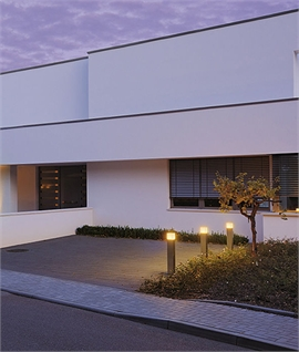 Exterior Bollard with Square Cube Top - E27 Lamp