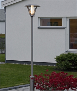 Contemporary Stainless Steel Lamp Post With Opal Lamp