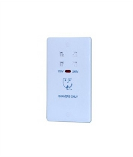 Dual Voltage Slim Shaver Socket in White