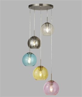 Multi-Coloured Glass 5 Light Pendant