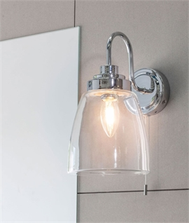Chrome & Clear Glass Swan Neck Wall Light - IP44