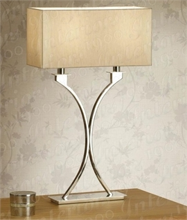 Curved Polished Nickel Table Lamp & Cream Shade
