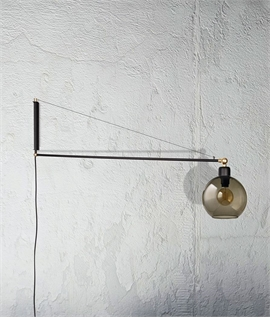 Swing Wall Light with Smoked Glass Shade