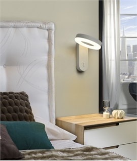 Switched Tilting Bedside Wall Fixture with LED Halo