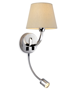 Chrome Bedside Wall Light with Adjustable LED Reading Light