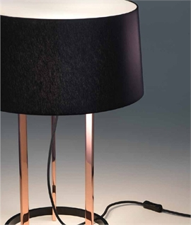 Rose Gold Table Lamp & Black Shade