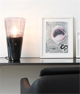 Black Marble Base & Faceted Glass Table Lamp