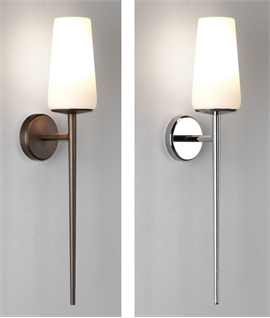 Tall & Slim Wall Light & Opal Glass Shade IP44