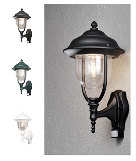 Covered Black & Glass Wall Lantern with PIR