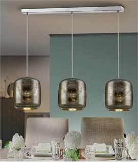 Etched Glass Shades Bar Pendant