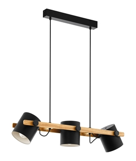 Wood Bar Pendant - 3 Adjustable Black Steel Shades