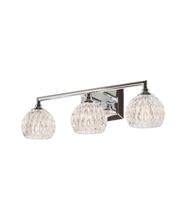 Marquis-Cut Glass & Chrome Wall Lights IP44