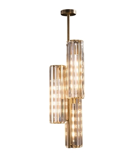 Crystal and Antique Brass Fixed Triple Ceiling Light