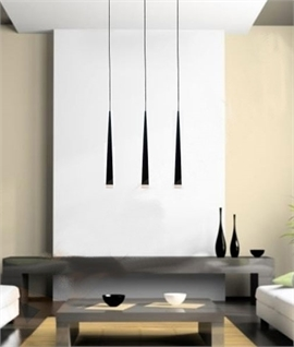 Long Drop Triple Pendant - Black, White or Chrome