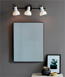 Black Bar & Opal White Shade Wall Lights