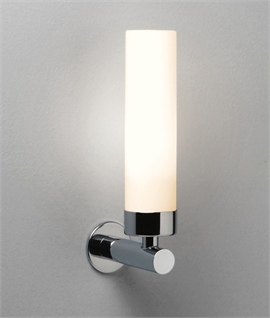 Tubular Opal Glass Bathroom Wall Light