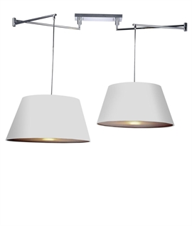 Offset Ceiling Pendant in Chrome Finish - Single or Twin Shades