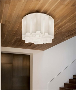 Large White Swirled Glass Ceiling Light