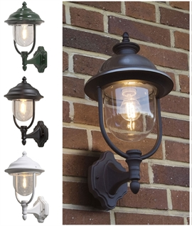 Upright Exterior Capped Wall Lantern - 3 Finishes
