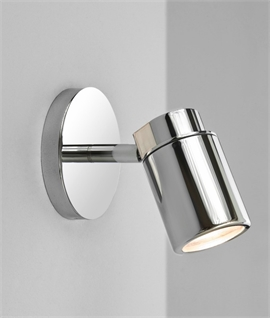 Wall mounted adjustable spot lights lighting styles polished chrome single spot light ip44 rated aloadofball Image collections