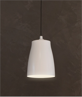 Metal Pendant with White Interior & Black Flex