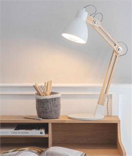Modern Retro White & Wood Adjustable Table Lamp