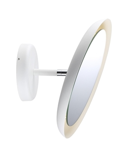 White Round LED Adjustable Mirror - 3x Magnified