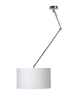 Adjustable Rise and Fall Pendant Light with Drum Shade