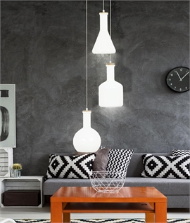 Cluster 3 Light Glass Pendant - White