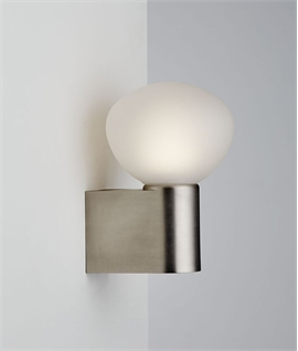 Opal Glass & Brushed Steel Wall Light