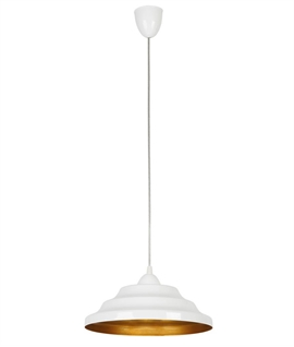 Glossy Stepped Metal Pendant - Gold Interior Dia 300mm