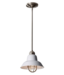 White Industrial Style Small Pendant with Drop Rods