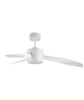 White LED Ceiling Fan with Opaque Blades - IP65 Rated