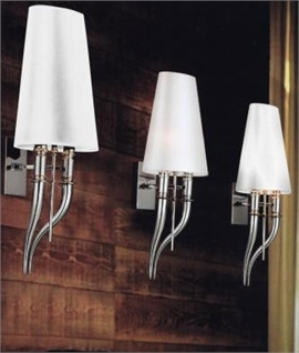 Chrome & Linen Shade Wall Light
