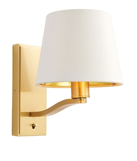 Brushed Satin Gold Wall Light with White Shade